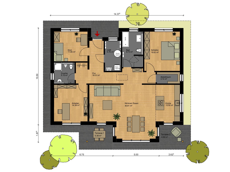 Massivhaus bauen - Bungalow Musterhaus Grundriss - Rotenburg Engellandt Hausbau
